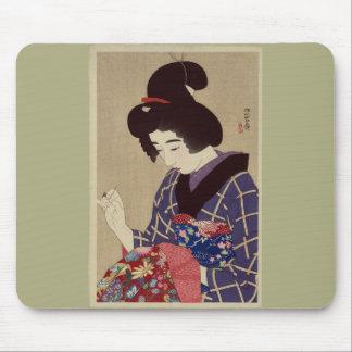 """Hari shigoto"" (Sewing) by Itō Shinsui Mousepad"