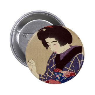 """Hari shigoto"" (Sewing) by Itō Shinsui Pinback Button"