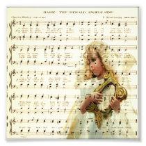Hark hear the angels sing on vintage music sheet photo print