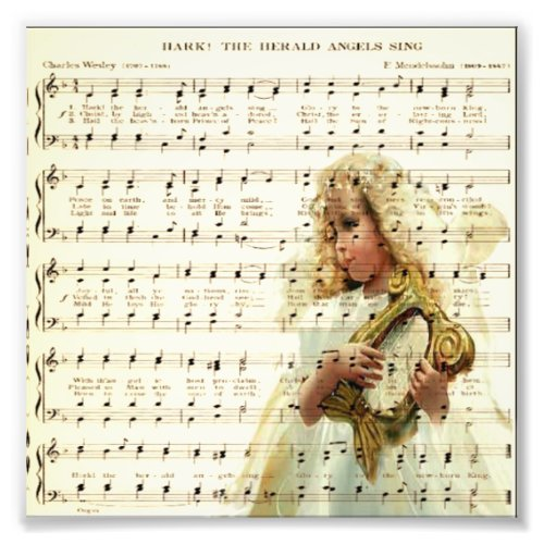 Hark hear the angels sing on vintage music sheet