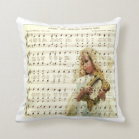 Hark hear the angels sing on vintage music sheets throw pillow