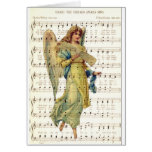 Hark the angels sing on vintage music sheet card
