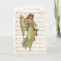 Hark the angels sing on vintage music sheet holiday card