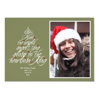 Hark the Christmas carol lyric tree photo green Card
