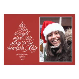Hark the Christmas carol lyric tree photo red Card