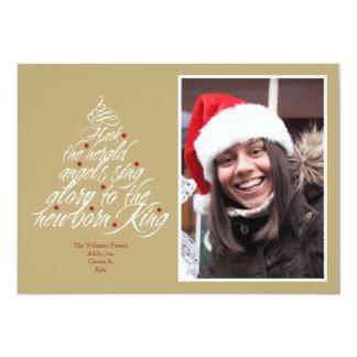 Hark the Christmas carol lyric tree photo taupe Card