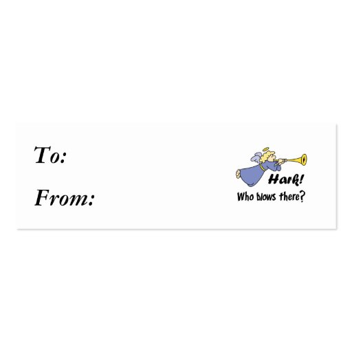 Hark Who Blows There Funny Angel Business Card Templates