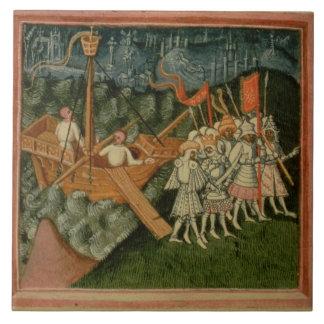 Harl 2278 f.98v la llegada de rey Sweyn y Dani Azulejo Cuadrado Grande