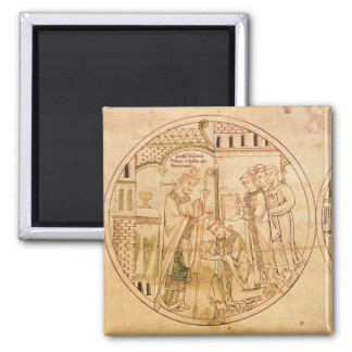 Harl. Roll Y.6 roundel 11 St. Guthlac is Ordained Magnet