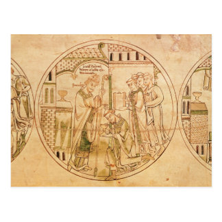 Harl. Roll Y.6 roundel 11 St. Guthlac is Ordained Postcard