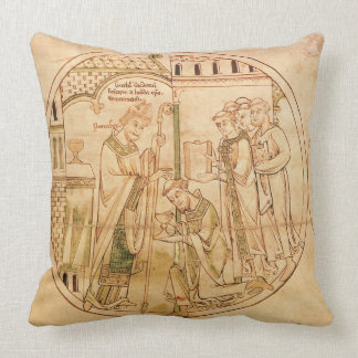 Harl. Roll Y.6 roundel 11 St. Guthlac is Ordained Throw Pillow