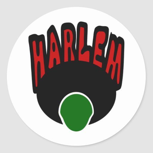 Harlem Graffiti With Face & Big Afro, 3 Colors Round Stickers