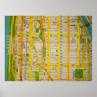 Harlem, Manhattan Vintage Map Poster