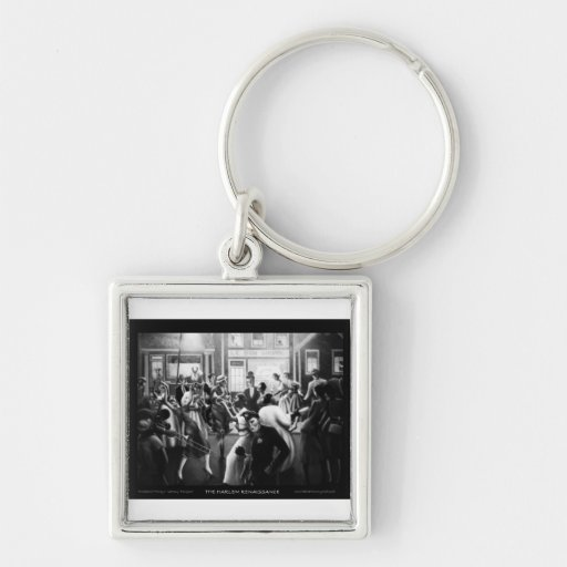 """Harlem Renaissance Art - """"Getting Religion"""" Silver-Colored Square Keychain"""