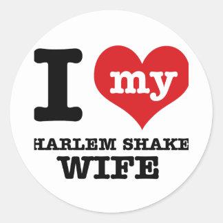 HARLEM SHAKE DESIGN ROUND STICKER