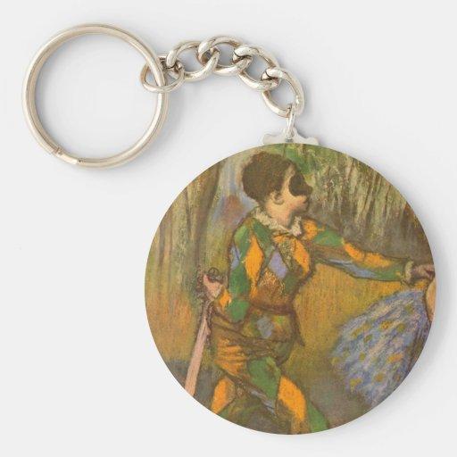 Harlequin and Columbine by Edgar Degas Basic Round Button Keychain