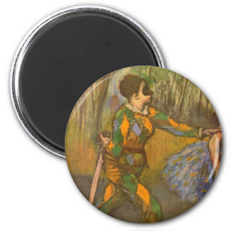 Harlequin and Columbine by Edgar Degas Vintage Art 2 Inch Round Magnet
