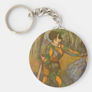 Harlequin and Columbine by Edgar Degas Vintage Art Keychain