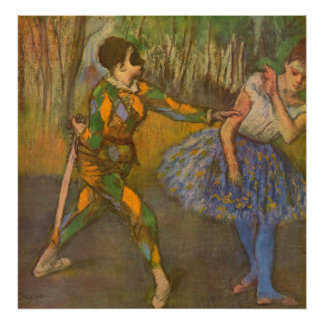 Harlequin and Columbine by Edgar Degas Vintage Art Poster