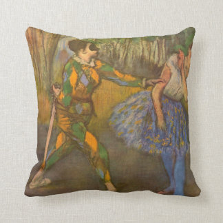 Harlequin and Columbine by Edgar Degas Vintage Art Throw Pillow