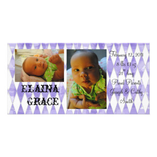 Harlequin Baby announcement Picture Card