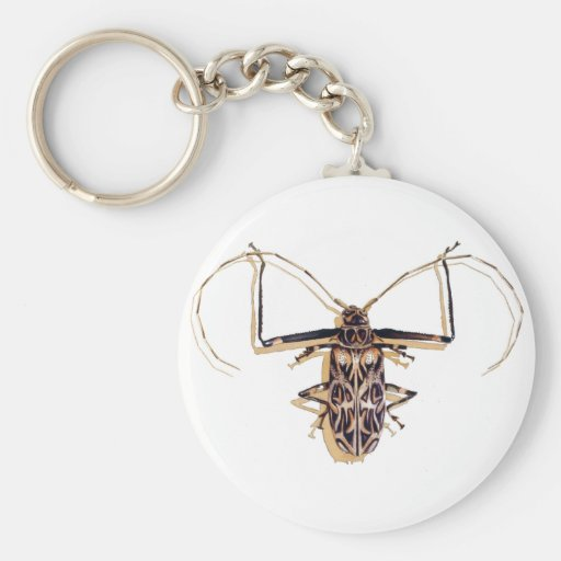 """""""Harlequin beetle"""" Insect Watercolor Bug Keychain"""