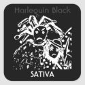 Harlequin Black Sativa Square Sticker