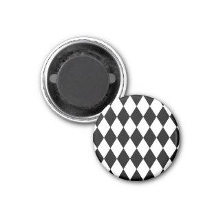 Harlequin blanco y negro imán redondo 3 cm