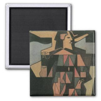 Harlequin by Juan Gris, Vintage Cubism Art 2 Inch Square Magnet