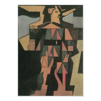 Harlequin by Juan Gris, Vintage Cubism Art 5x7 Paper Invitation Card