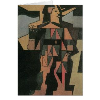 Harlequin by Juan Gris, Vintage Cubism Art Greeting Card