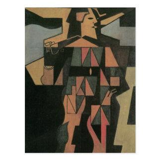 Harlequin by Juan Gris, Vintage Cubism Art Postcard