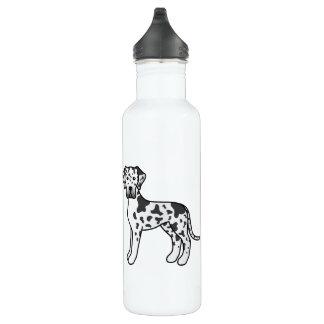 Harlequin Cartoon Great Dane Breed Dogs Water Bottle