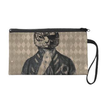 Harlequin Cat Grunge Wristlet Clutches