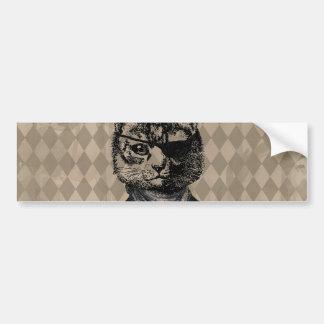 Harlequin Cat Grunge Car Bumper Sticker
