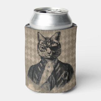 Harlequin Cat Grunge Can Cooler