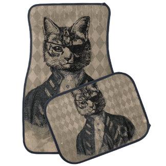 Harlequin Cat Grunge Car Mat