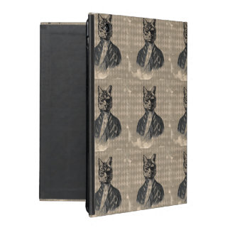 Harlequin Cat Grunge iPad Folio Case