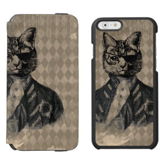 Harlequin Cat Grunge iPhone 6/6s Wallet Case