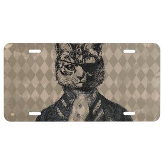 Harlequin Cat Grunge License Plate