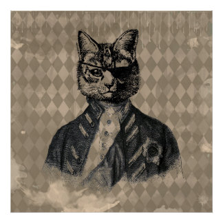 Harlequin Cat Grunge Poster