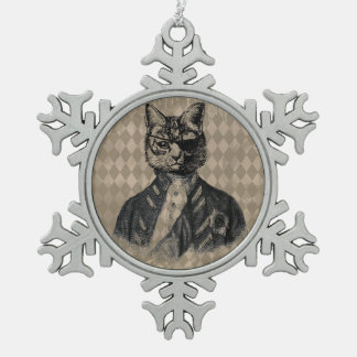 Harlequin Cat Grunge Snowflake Pewter Christmas Ornament