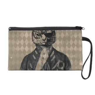 Harlequin Cat Grunge Wristlet Purse