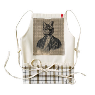 Harlequin Cat Grunge Zazzle HEART Apron