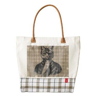Harlequin Cat Grunge Zazzle HEART Tote Bag