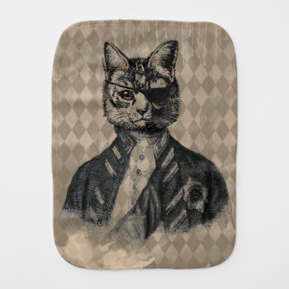 Harlequin Cat Grunge Baby Burp Cloth