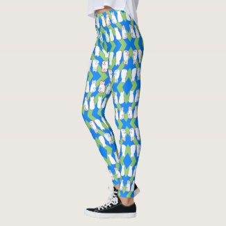 Harlequin Cats - Blue & Green Stripe - White Cats Leggings