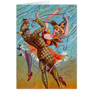 Harlequin Dancing Vintage Illustration Card