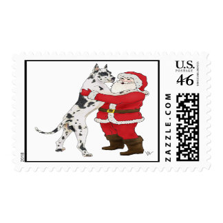 Harlequin Dane Jowly Christmas Greeting Postage
