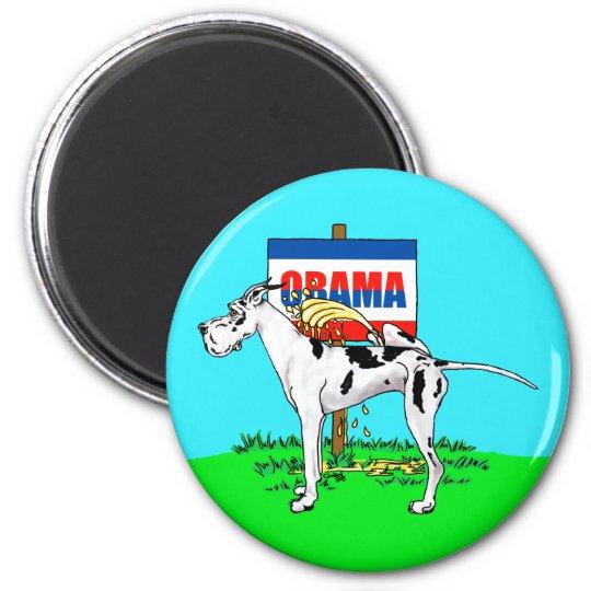 Harlequin Dane Pi$$ on Obama Magnet